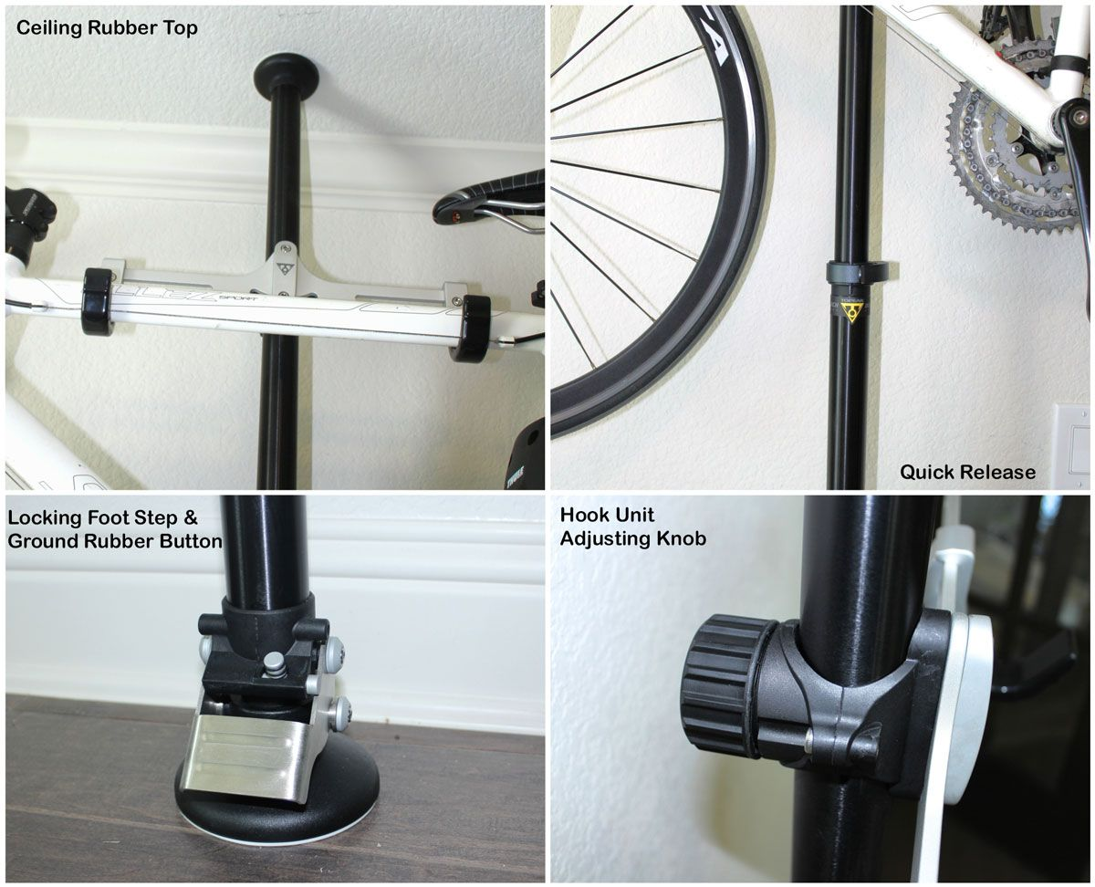 Collage showing components of Topeak Dual Touch Bikes Stand - ceiling rubber top, locking foot step & ground rubber button, pole quick release, and hook unti adjusting knob