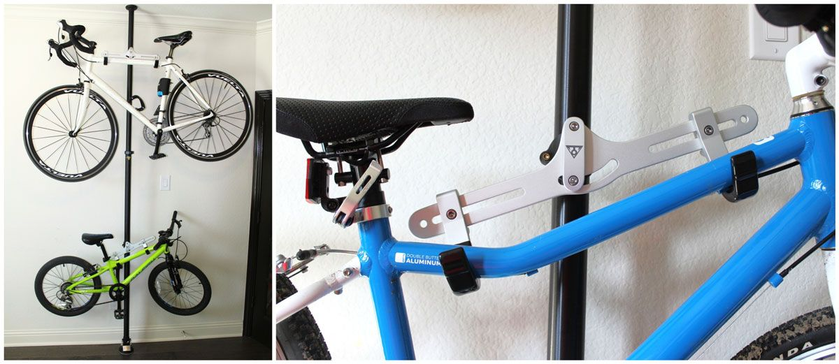Topeak DualTouch Bike Stand with an adult and a kid's bike hanging.