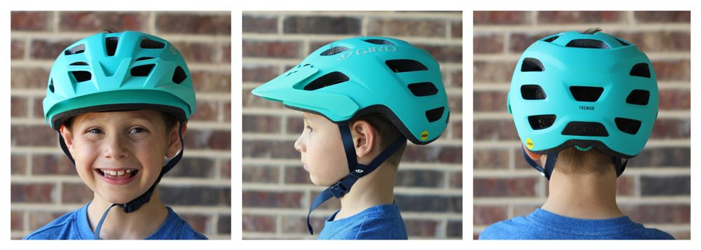 7-year-old wearing Giro Tremor kid's helmet. Shots from front, side and back to show coverage.