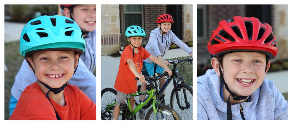 7-year-old wearing Giro Tremor kid's helmet and 11-year-old wearing Giro Hale, on bikes, smiling