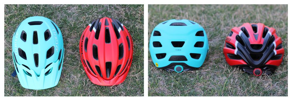 Side by side comparison of 18 vents of Tremor kid's helmet and 22 vents of Hale kid's helmet.