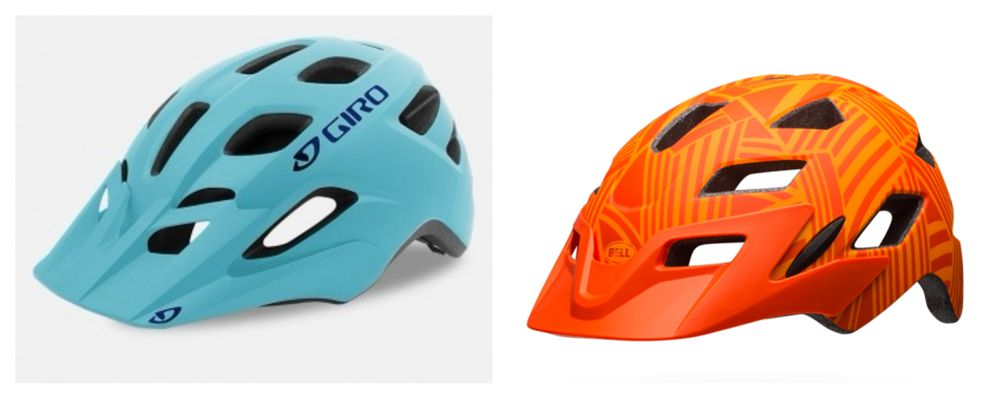 Stock photos of Giro Tremor in blue and Bell Sidetrack in orange.