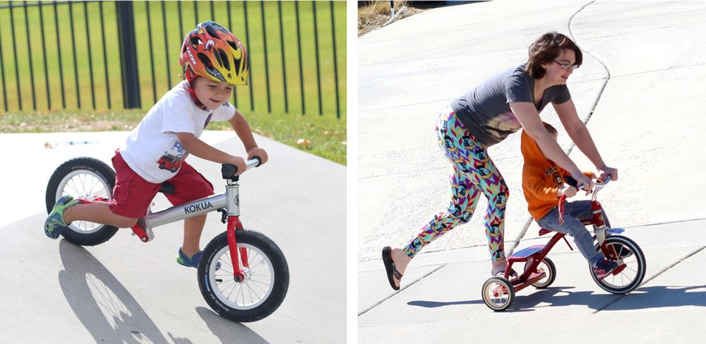 Small boy happily running on a balance bike, and a boy struggling to ride a tricycle with his mom's help.