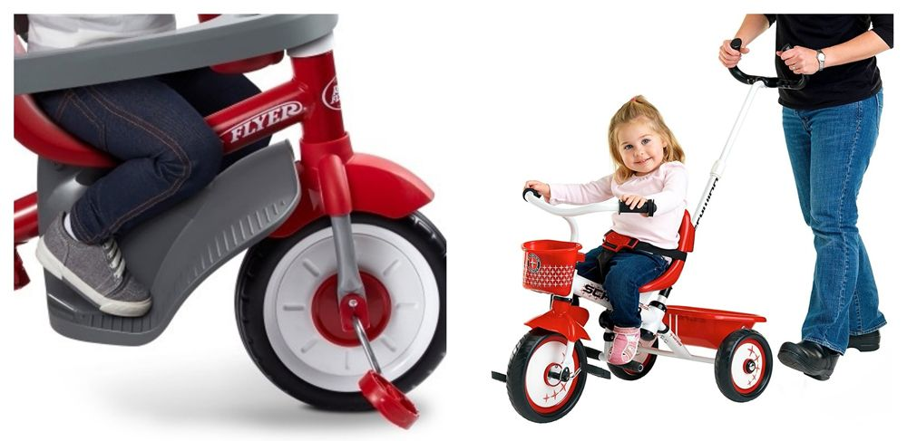 Tricycle footrests from Radio Flyer and Schwinn tricycle with push bar for parent.