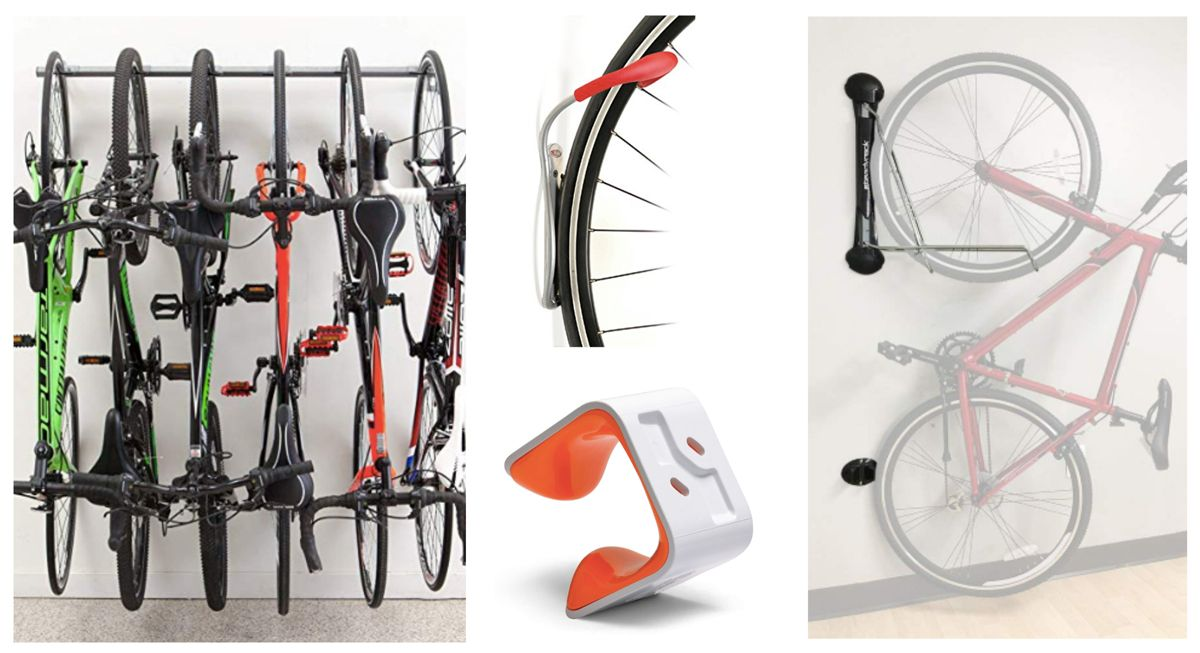 Collage showing different types of vertical bike storage - SteadyRack, Delta Leonardo Hook, Hornug, and MonkeyBars track system