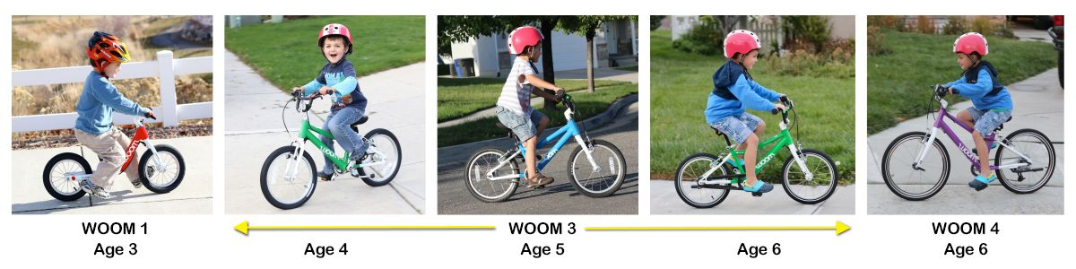 Collage showing same child on different bikes as he gets older. WOOM 1 at age 3. WOOM 3 at ages 4, 5, and 6. WOOM 4 at age 6.