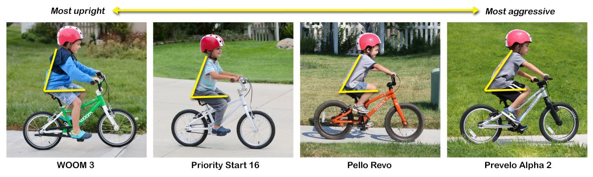 Collages showing child riding 4 different bikes in order of most upright body positioning to the most leaned forward or aggressive. In this order: WOOM 3, Priority Start 16, Pello Revo, Prevelo Alpha 2.