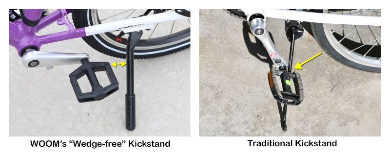 Kickstand on WOOM 4 is set farther back so as not to interfere with the pedals. Shown vs a traditional kickstand that interferes with the pedals.