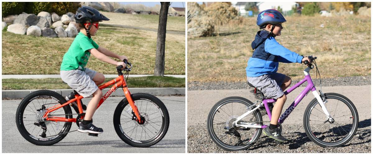 "Side by side comparison of 7-year-old riding Pello Rover 20"" kid' bike and woom 4 20"" kid's bike"