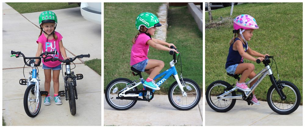 Child riding woom 2 and Prevelo Alpha One 14 inch bikes. The Prevelo is smaller than the woom.