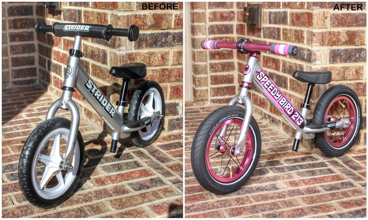 Before and after shot of original Strider Pro silver and then upgraded with pink and black parts and air tires from Wild Child Bikes