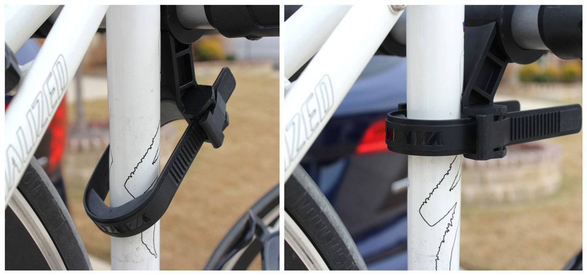 Anti-sway cradle on Yakima Ridgeback bike rack is easier to use if you tilt it away from the bike's frame to install the Zip Strip.