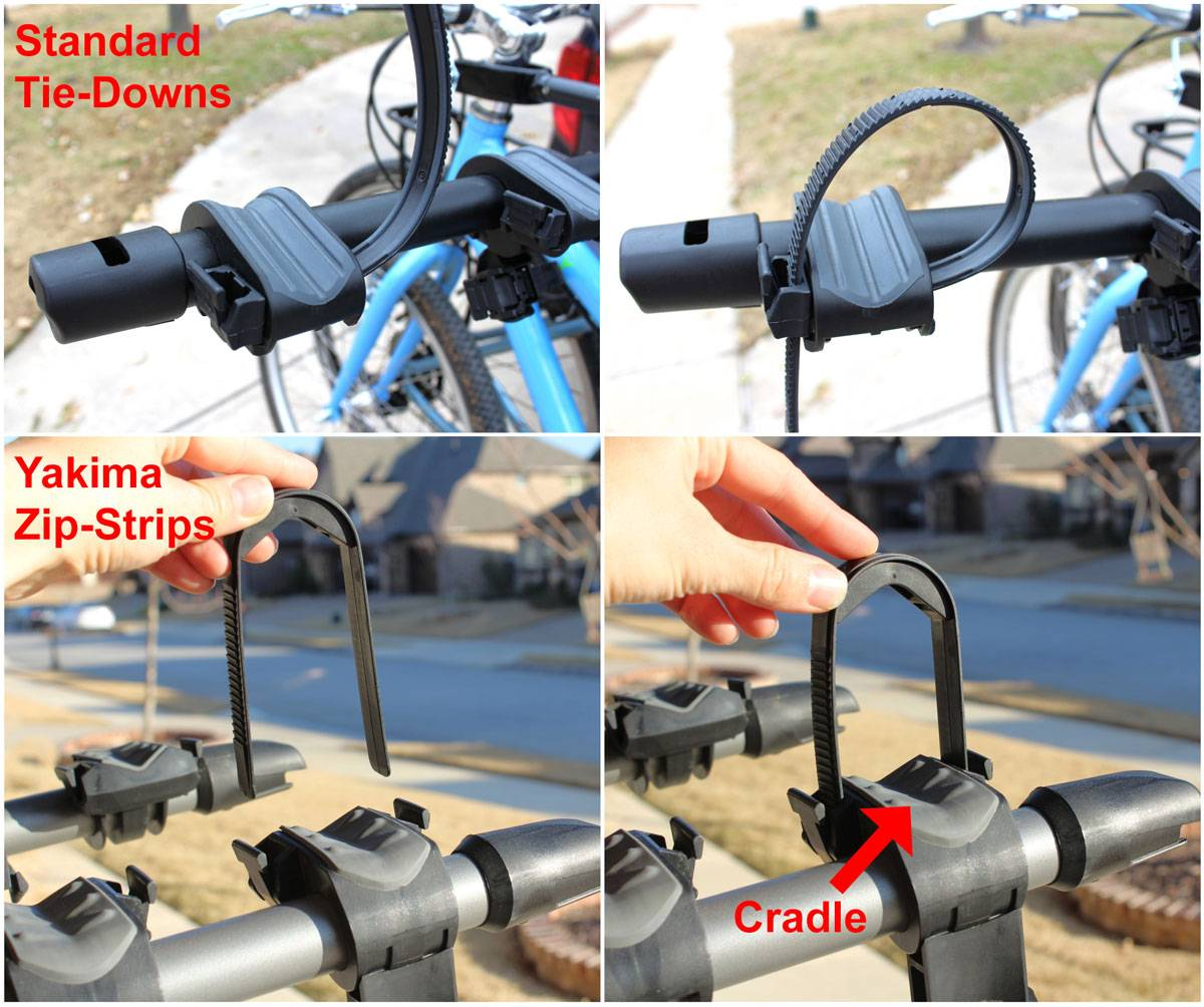 Side by side comparison of a standard tie down for a hanging bike rack, vs the Yakima ZIp Strip system
