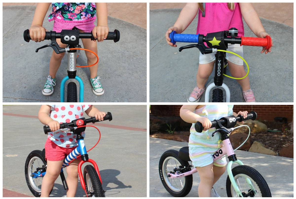 Colorful grips, brake cables and forks on Yedoo TooToo balance bikes