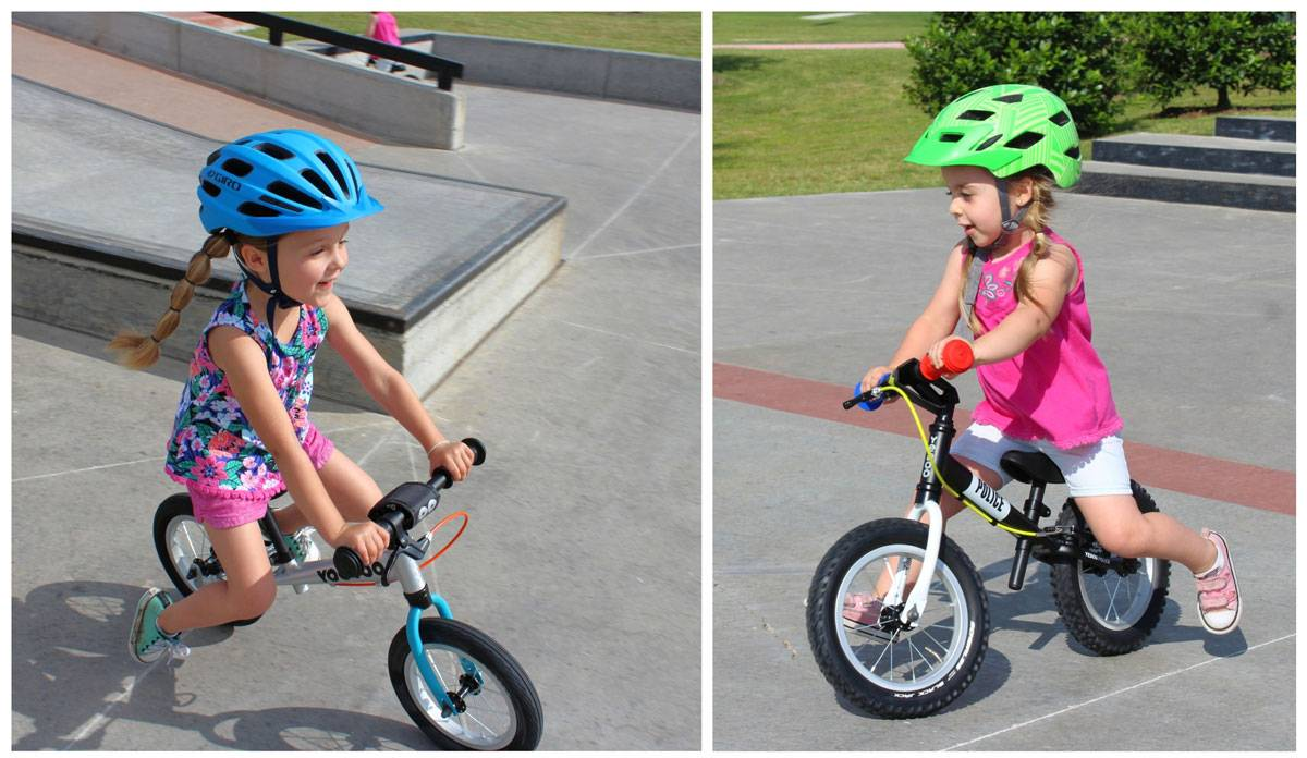 4-year-old and 3-year-old riding Yedoo TooToo balance bikes