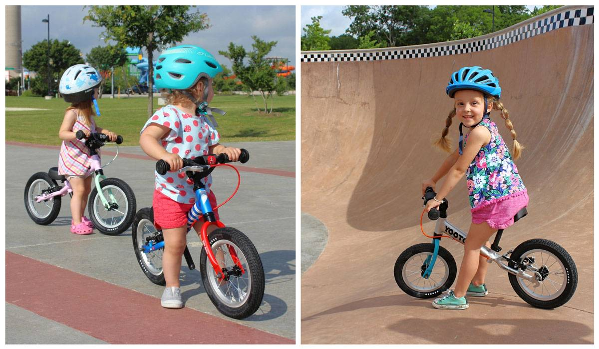 1, 2, and 34 year olds riding Yedoo TooToo balance bikes at the skatepark