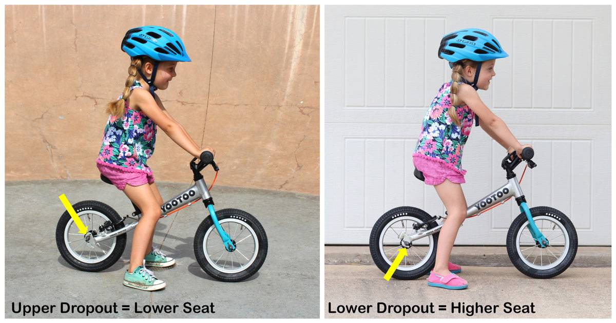 Yedoo YooToo has a higher maximum seat height if you use the lower dropout for the rear wheel. Side by side shot of 4 year old on the bike showing less kneebend with the lower dropout.