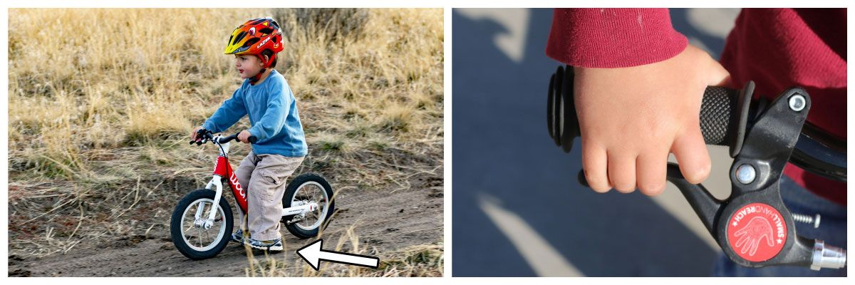A child stopping a balance bike using his feet and then using a hand brake