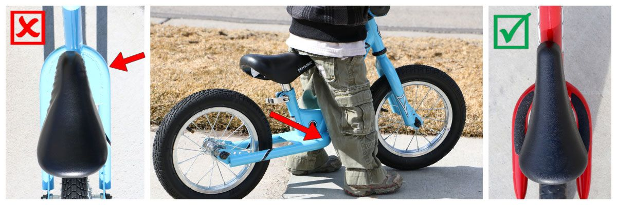 balance bike footrests design. Good and bad examples.