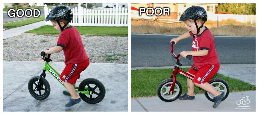 Side by side examples of a child on a good and bad balance bike: Strider (good), Chicco Red Bullet (bad)