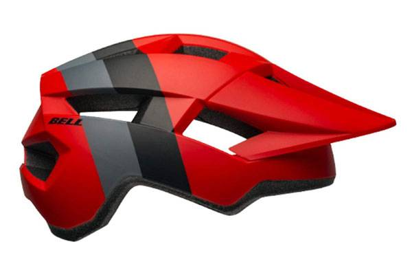 Bell Spark Jr. helmet in red with gray and black stripes