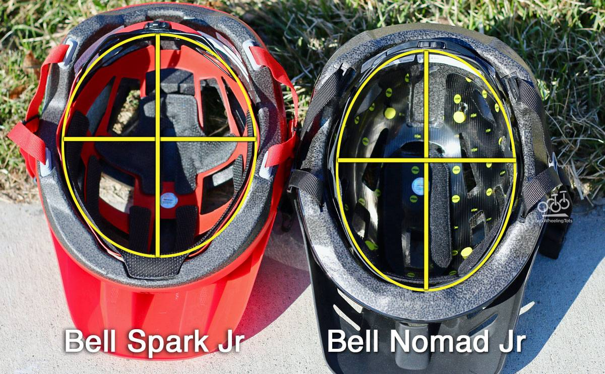 Side by side shot of Bell Spark Jr and Bell Nomad Jr showing underside. The interior of the Bell Spark is much wider and rounder.