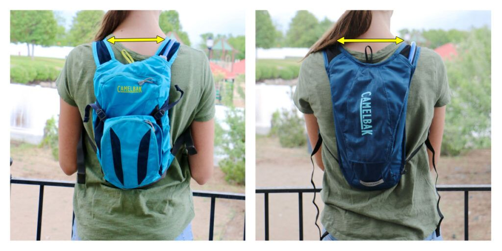13 year old girl shown from the back wearing the camelbak mini MULE and the women's Charm hydration pack.