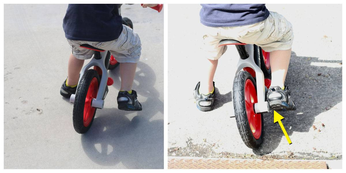 Child hitting his foot on the rear axle of the Chillafish BMXie balance bike