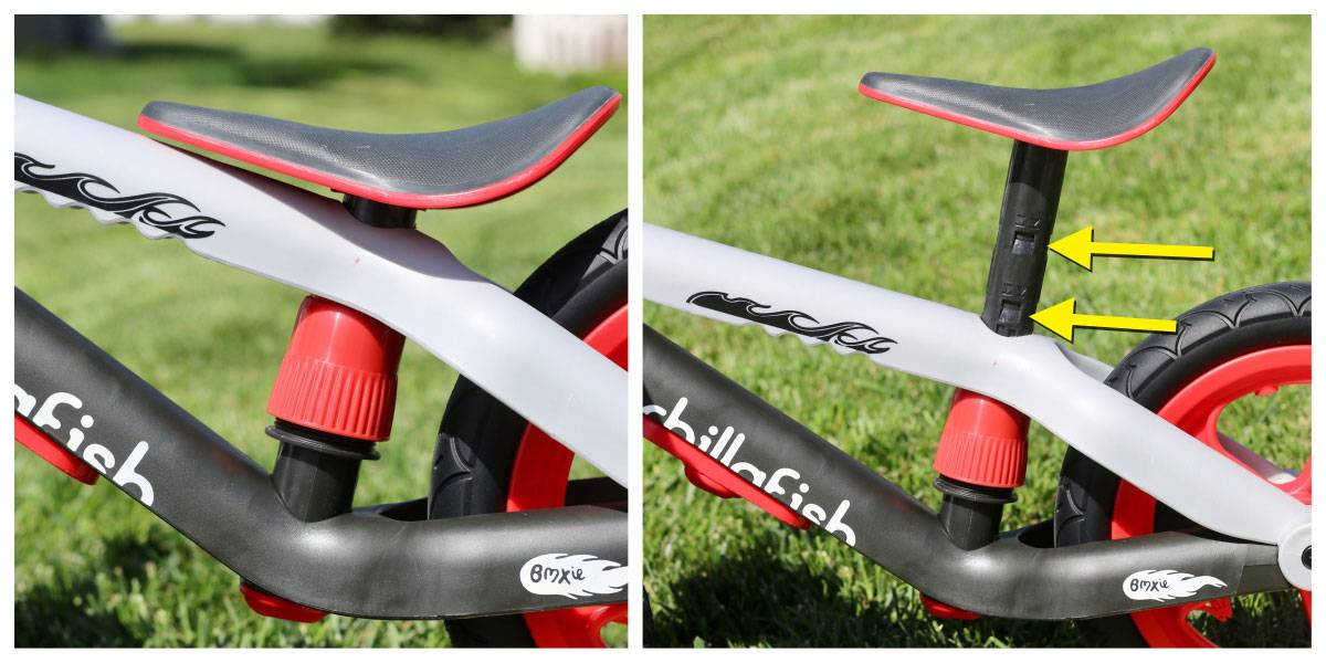 Seat height settings on the Chillafish BMXie balance bike