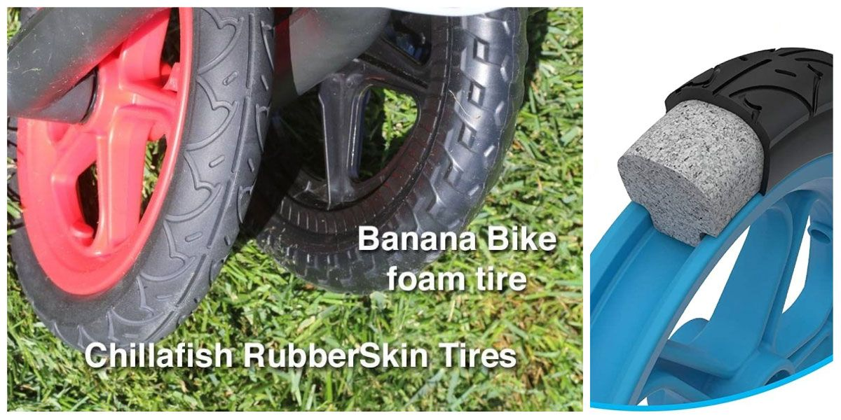 Side by side comparison of RubberSkin tires on Chillafish BMXie balance bike and foam tires on Banana Bike