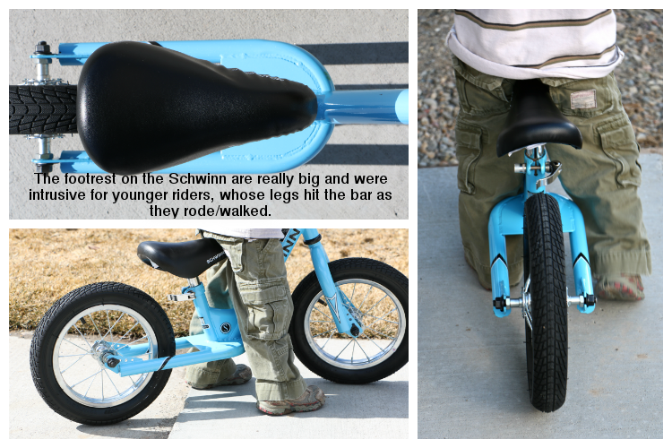 Large, obtrusive footrest on Schwinn original balance bike - kids' legs hit the footrest while riding/walking/running.