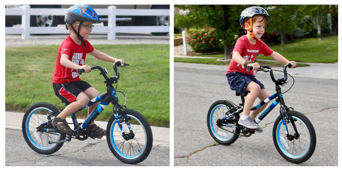 "Side by side comparison of 4 year old boy riding the Guardian 16"" Ethos bike and Guardian 16"" Original bike down the sidewalk"