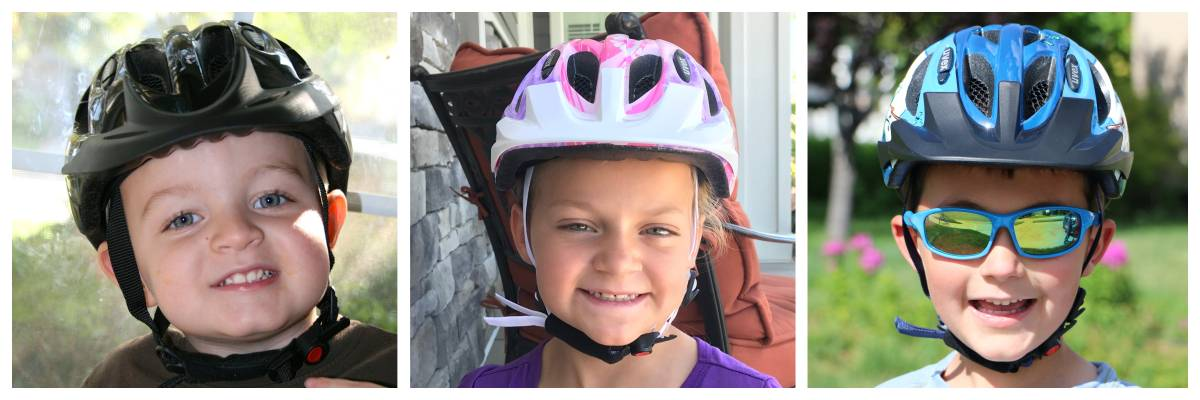side by side images of a 2 year old, 5 year old, and 7 year old wearing the Uvex Hero kid's bike helmet