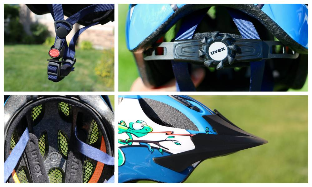 Components of the Uvex Hero kid's bike helmet. The side straps, dial adjust, visor, and inner padding.