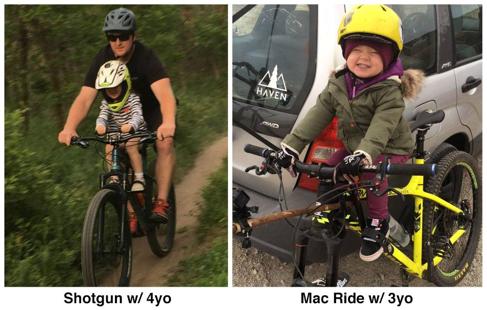 Side by side comparison of child riding on Kids Ride Shotgun and Mac Ride child bike seats