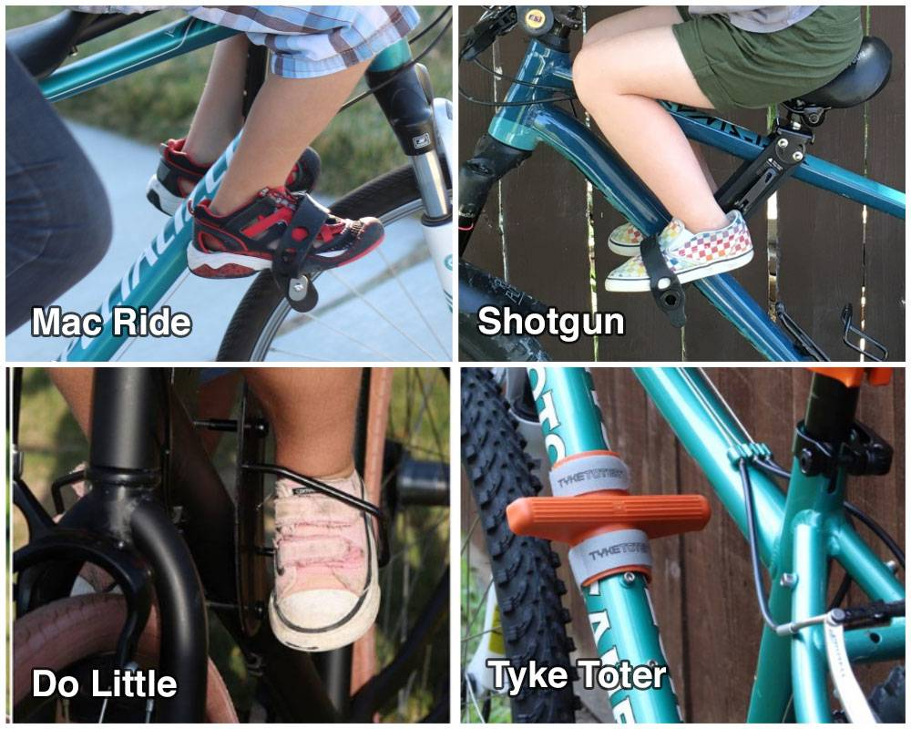 Four shot comparison of the footrests on the Mac Ride, Shotgun, Do Little, and Tyke Toter child bike seats