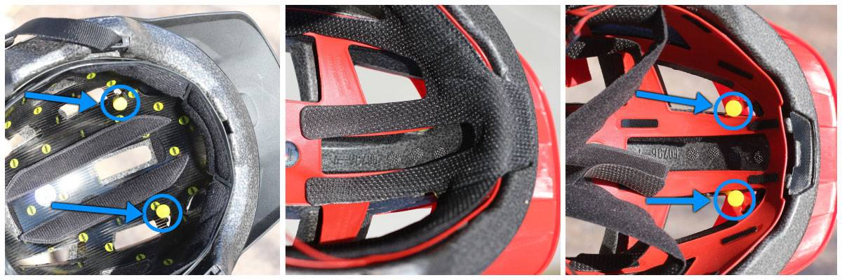 MIPS anchors in the interior of the Nomad helmet are exposed, while they are under the pads of the Spark Jr.
