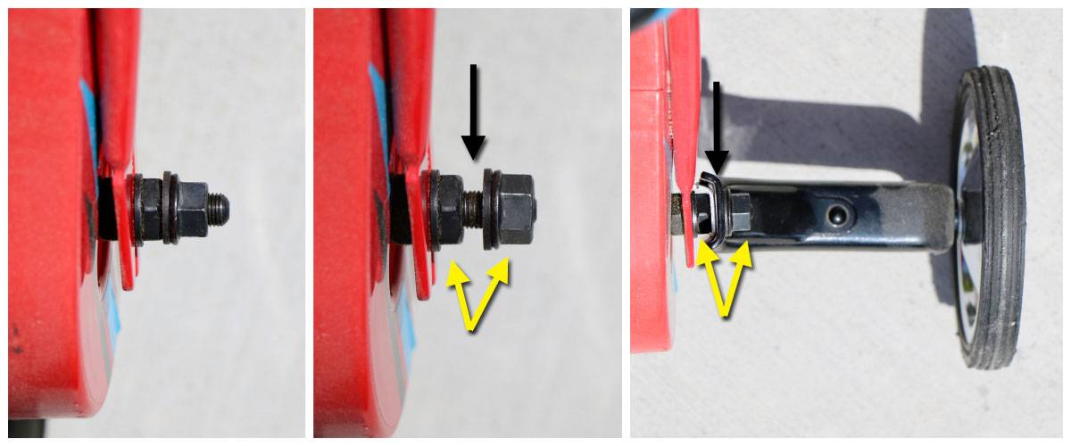 Axle bolt that the training wheels is mounted to. With and without the training wheel.