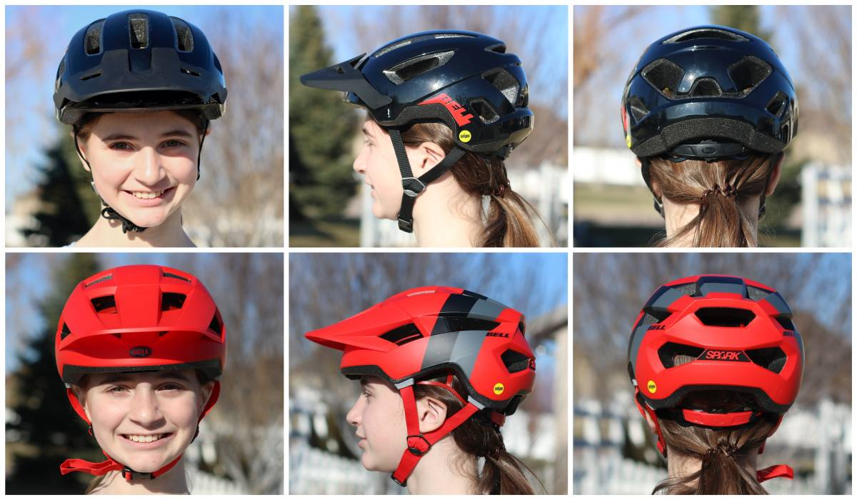 Front, side, and back shots of 12-year-old wearing the Bell Nomad Jr. MIPS helmet compared to the Bell Spark Jr. MIPS helmet. The Spark has extended coverage on the sides and back.