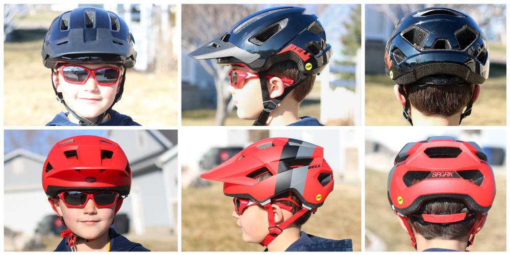 Front, side, and back shots of 7-year-old wearing the Bell Nomad Jr. MIPS helmet compared to the Bell Spark Jr. MIPS helmet. The Spark has extended coverage on the sides and back.