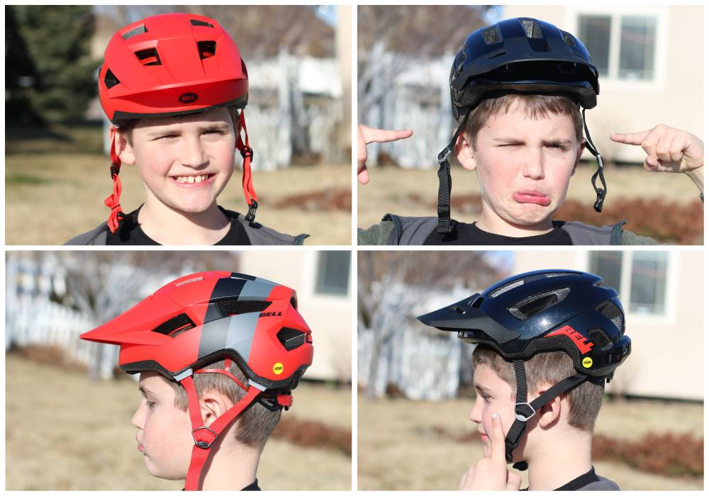 Front, side, and back shots of 7-year-old wearing the Bell Nomad Jr. MIPS helmet compared to the Bell Spark Jr. MIPS helmet. The Spark barely fits him, but the Nomad is comically too small sitting on top of his head.