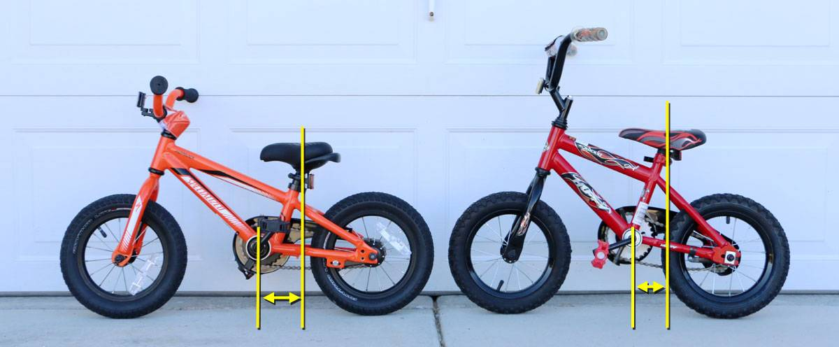 Side by side comparison of Specialized Hotwalk and Next Rocket. The pedals on the Hotwalk are placed farther forward on the bike than the Next's, where the pedals are directly below the seat.