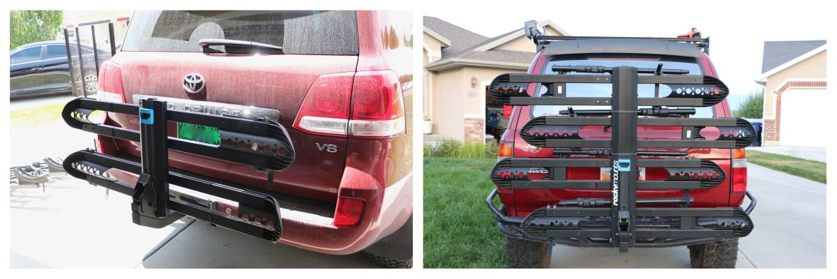RockyMounts SplitRail LS bike car rack - 2 bike and 4 bike capacity side by side comparison while folded up on the car
