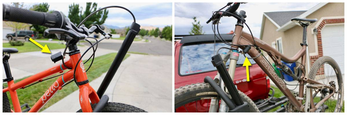 "RockyMounts SplitRail locking mechanism in use on 20"" kid's bike and 29er."