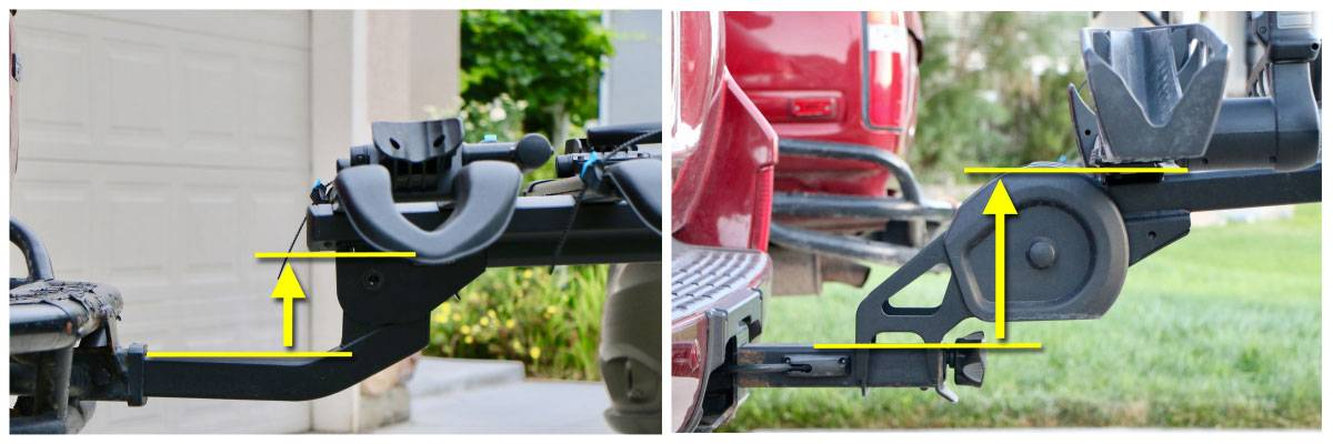 Folding axle of the RockyMounts SplitRail LS bike car rack and the Thule T2 Pro XT