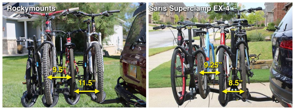 RockyMounts SplitRail LS bike car rack has wider spacing between bikes than the Saris SuperClamp EX bike rack