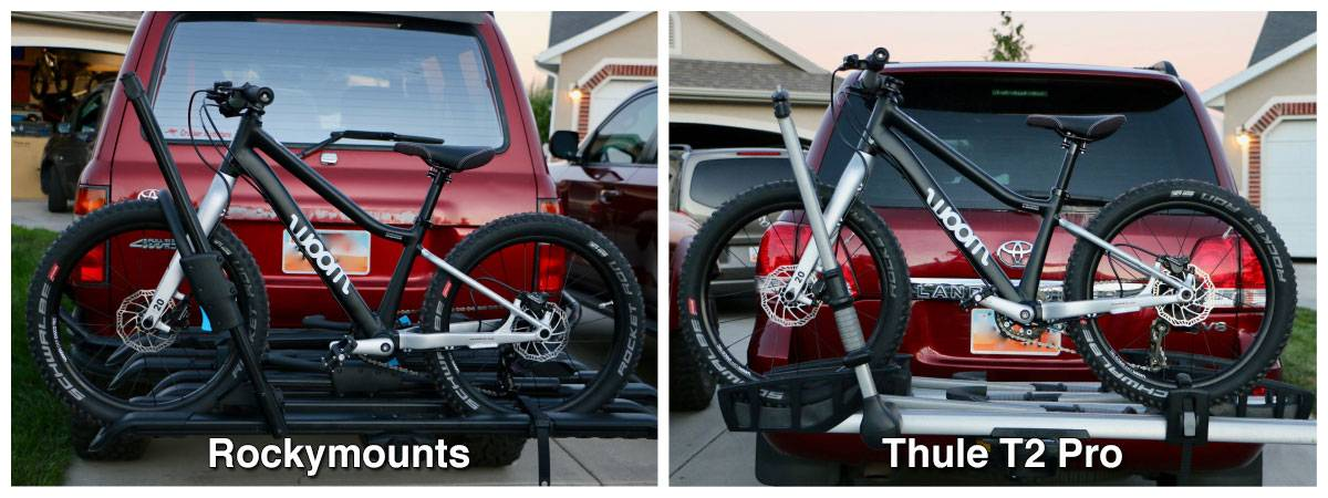 "Side by side comparison of RockyMounts SplitRail LS bike car rack and Thule T2 Pro with 26"" kid's bike loaded up. The RockyMounts sits much lower."