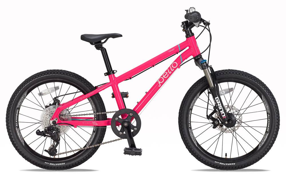 pink pello rover showing Spinner Air Grind suspension fork