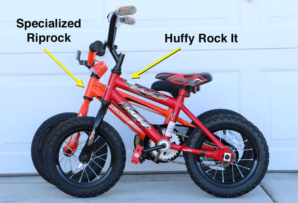 side by side comparison of Specialized Riprock vs Huffy Rock it. The Riprock is a few inches longer.