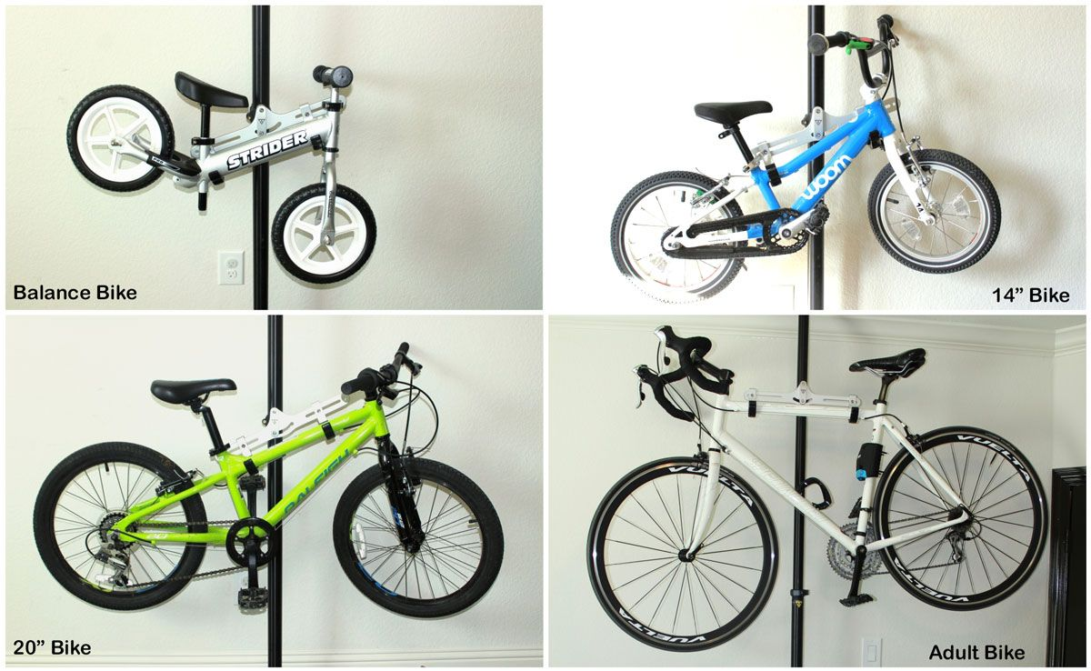 Four different size bikes on Topeak Dual Touch bike stand - balance bike, two kids' bikes, and and adult bike all fit great.